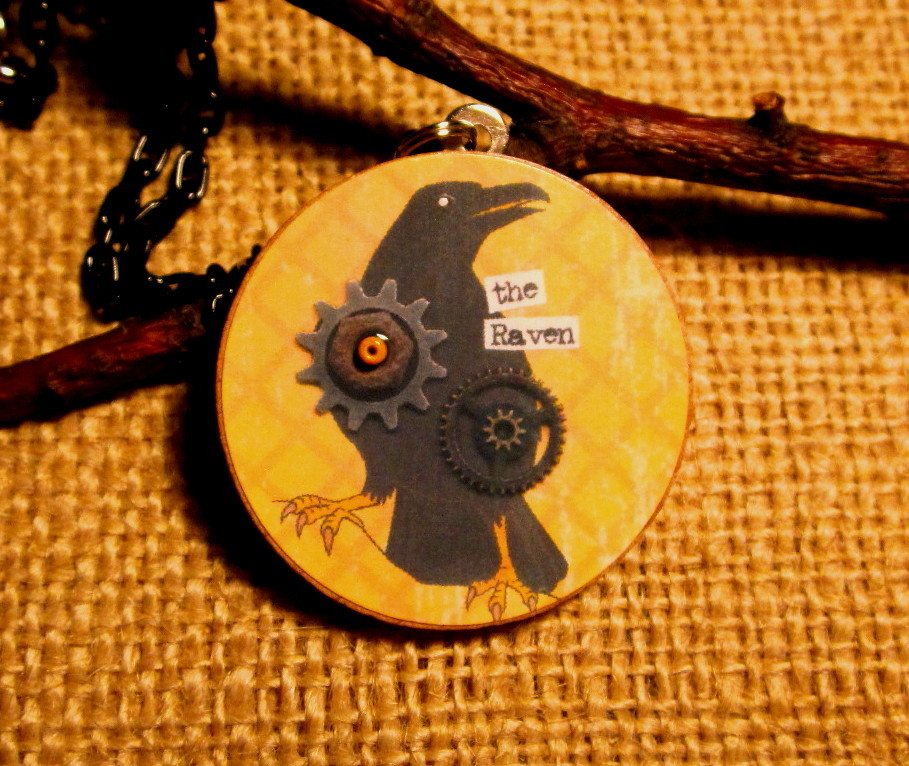 Picture of Steampunk Raven Pendant Necklace