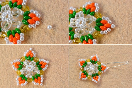 Make the Rest Part of the 2-hole Seed Bead and Pearl Star Earrings