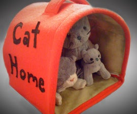 Fabric Cat House for Stuffed Animals