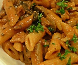 bacon and mushroom penne pasta