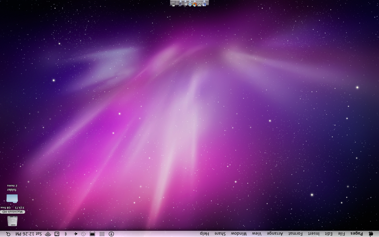 Picture of Upside Down Screen on Mac OS X Snow Leopard