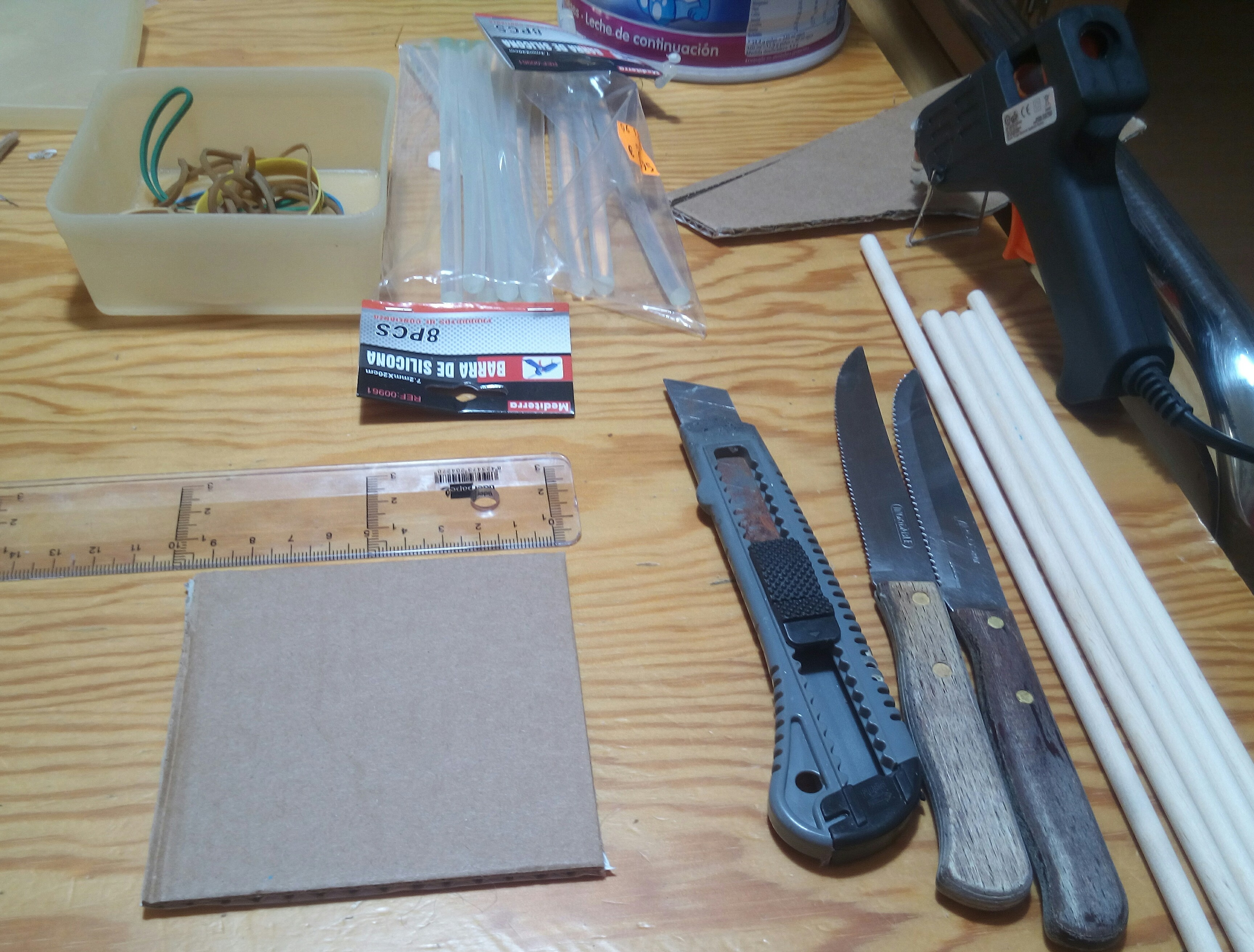 Picture of Cut a Squared Cardboard Piece and Some Sticks for a Solid Platform...