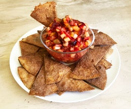 (Vegan) Fruit Salsa With Toasted Cinnamon Chips