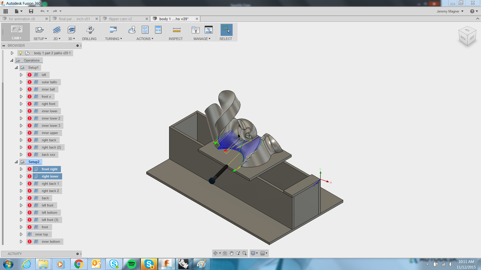 Picture of Setup Type 1 Toolpaths and Machining