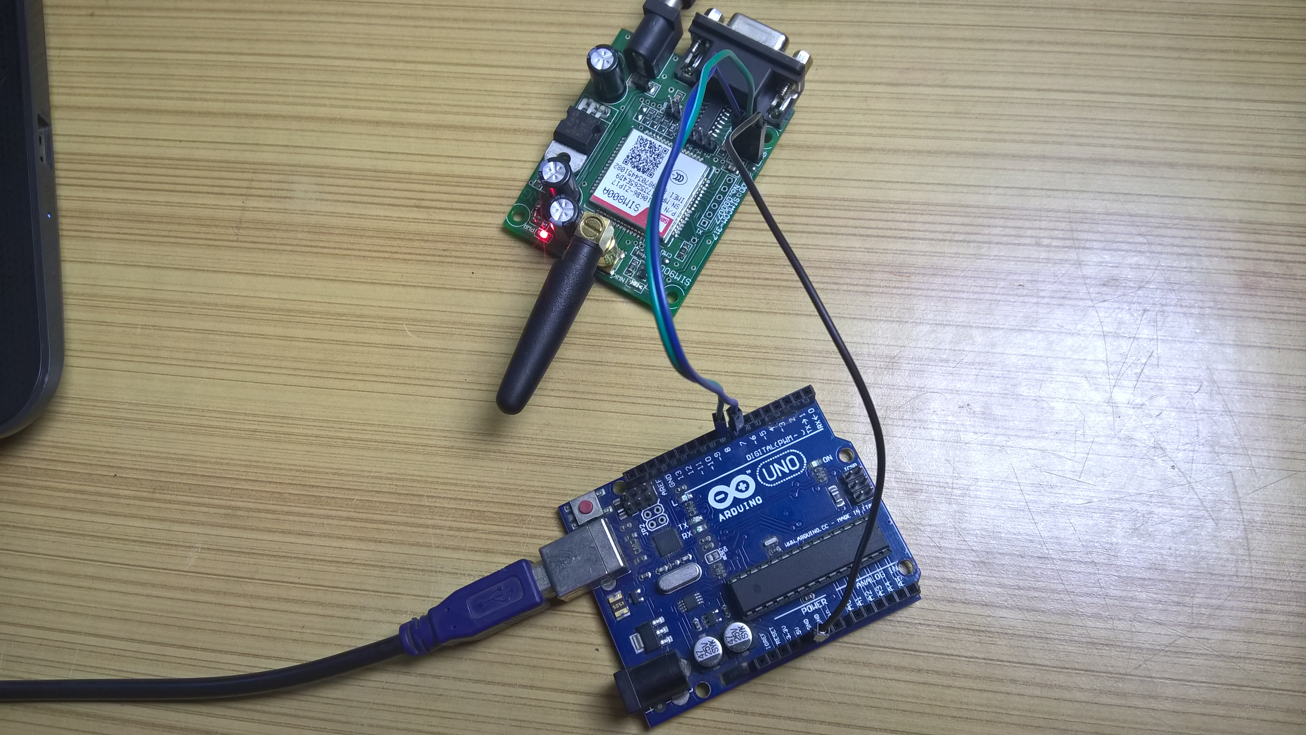 Picture of Testing the GSM Module.