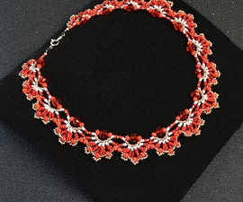 How to Make a Delicate Red Flower Choker Necklace With Seed Beads and Glass Beads