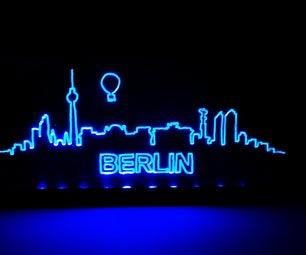 5$ Berlin Skyline Engraved Acrylic Display (battery-powered)