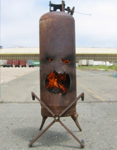 """Mr. Fire Face"" the Outdoor Fireplace Made From  Old Propane Tank"