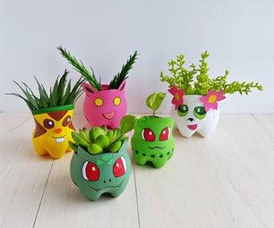 DIY Recycled Pokemon Planters