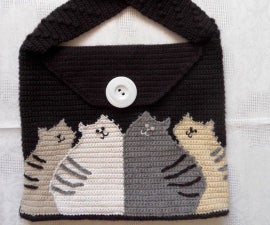 """Knitted Bag """"Cats"""""""
