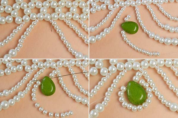 Picture of Add Olive Drab Jade Drop Bead to the Peal Bead Necklace