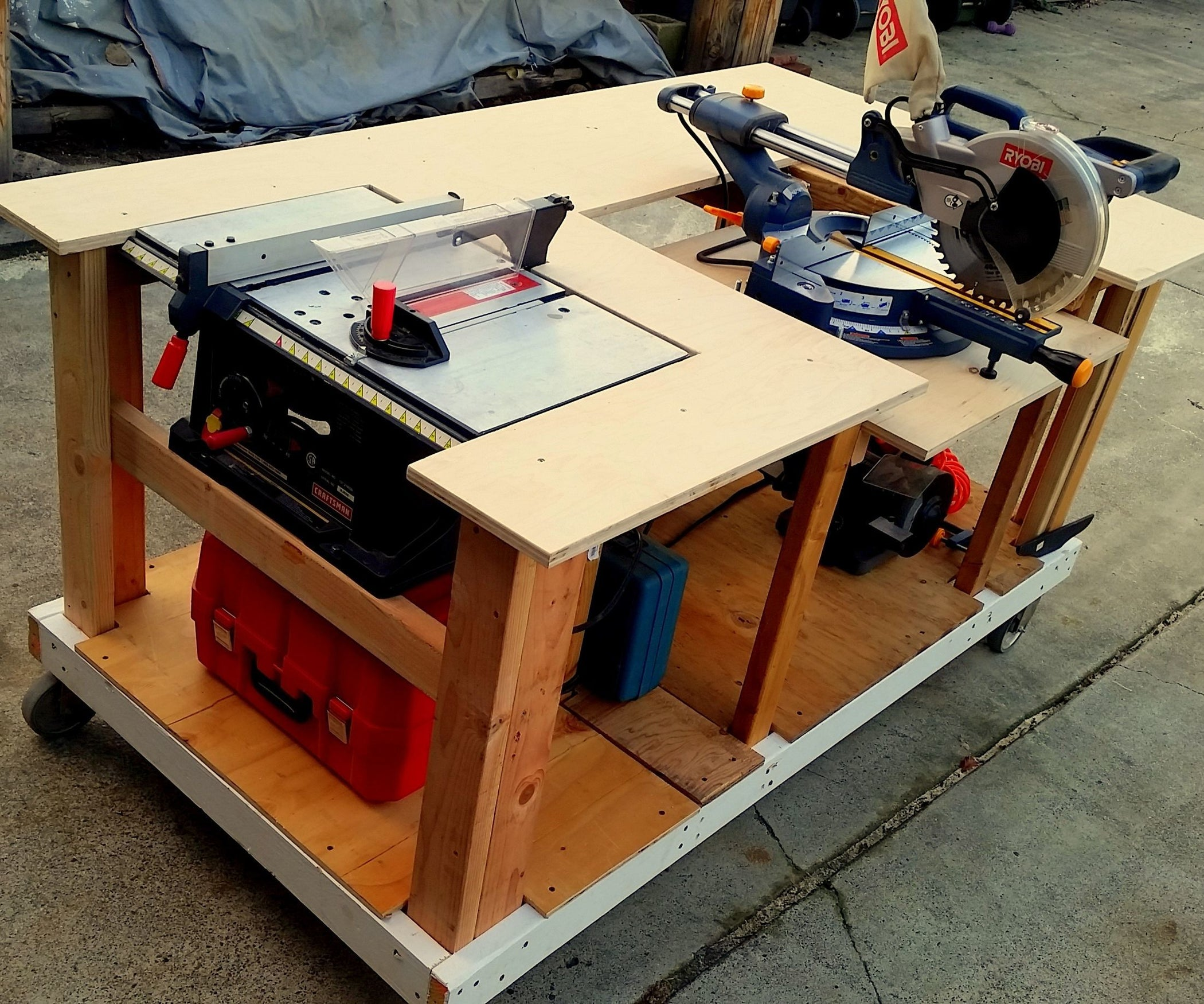 The 10 Best Garage Workbench Builds: Mobile Workbench With Built-in Table & Miter Saws: 8 Steps