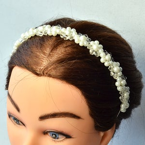 You Can See the Final White Pearl Wedding Headband: