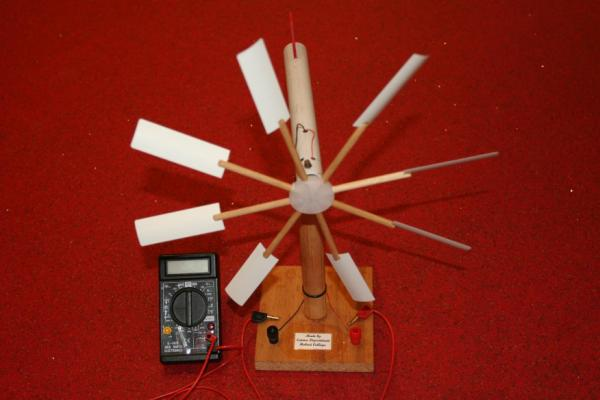 Picture of Wind Turbine Model Construction That Generates Real Electricity