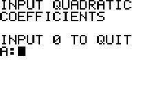 Quadratic Equation: a Program for TI84 Calculators