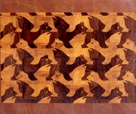 "Making a M.C.Escher's ""Winged Lion"" end grain cutting board"