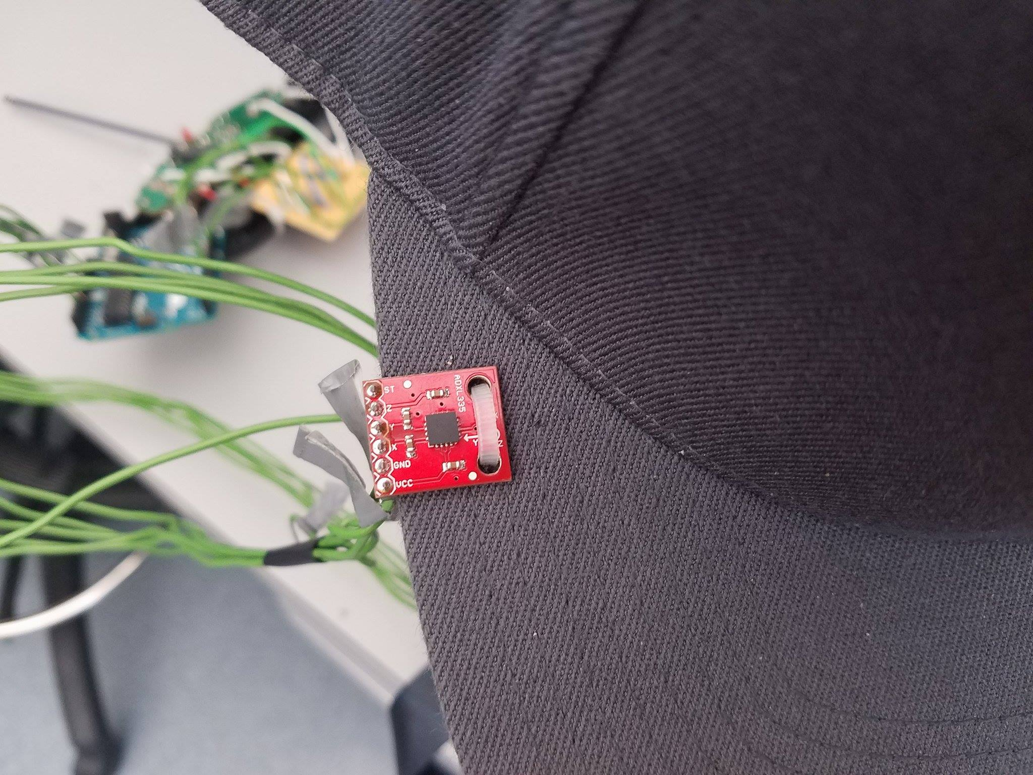 Picture of Attach Accelerometer to Hat