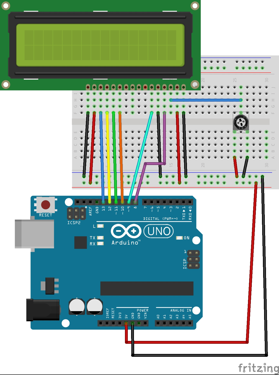 Picture of Connecting the LCD to the Arduino