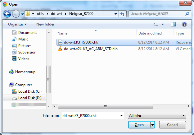 Picture of Upload the CHK DD-WRT File