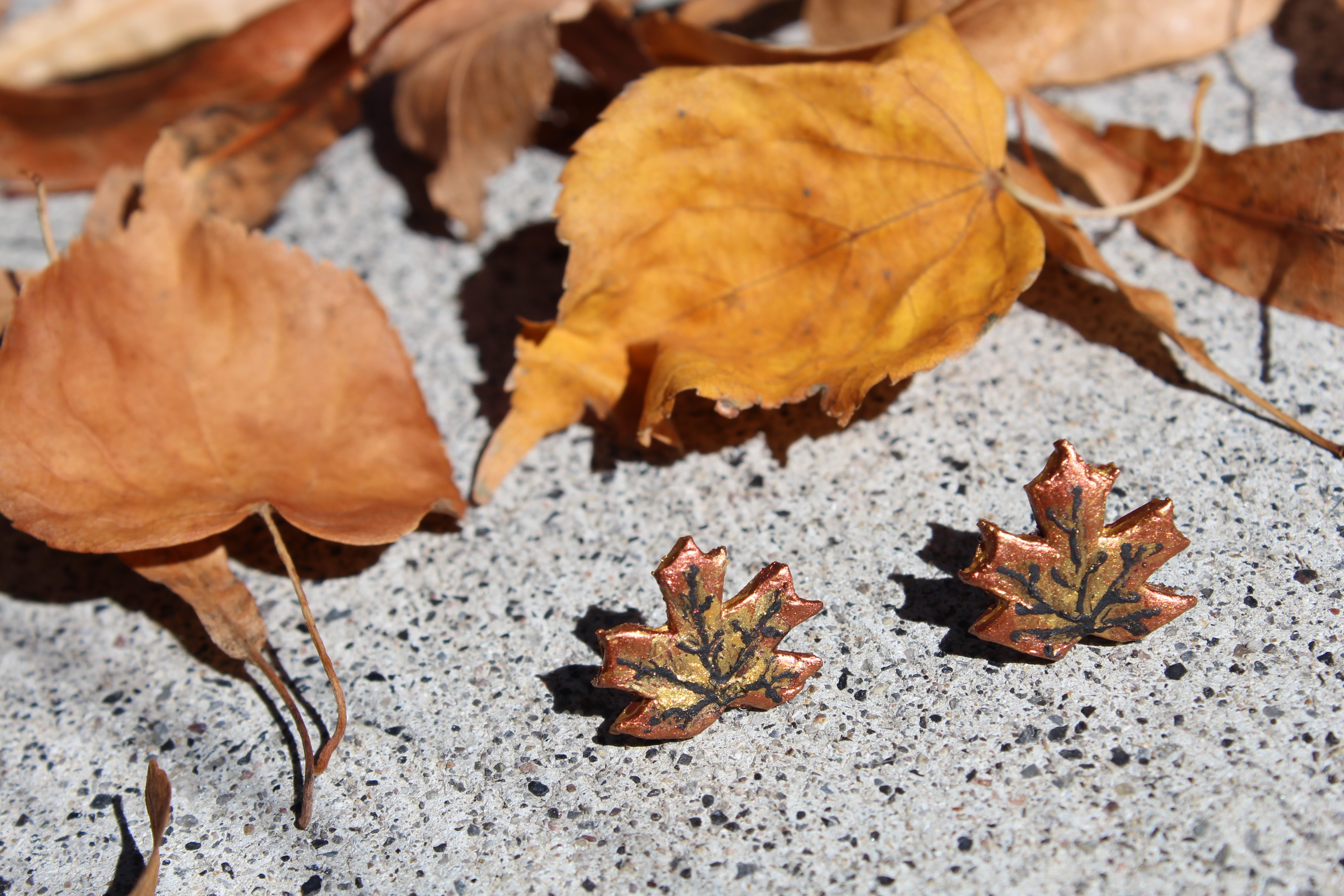 Picture of Polymer Clay Maple Leaf Earrings