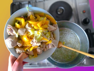 Adding the Pork, the Onion and the Yellow Pepper