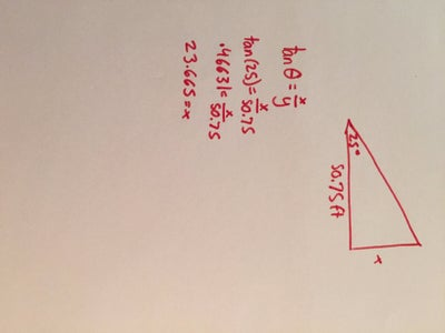Set Up Data in a Right Triangle Formation and Solve for X