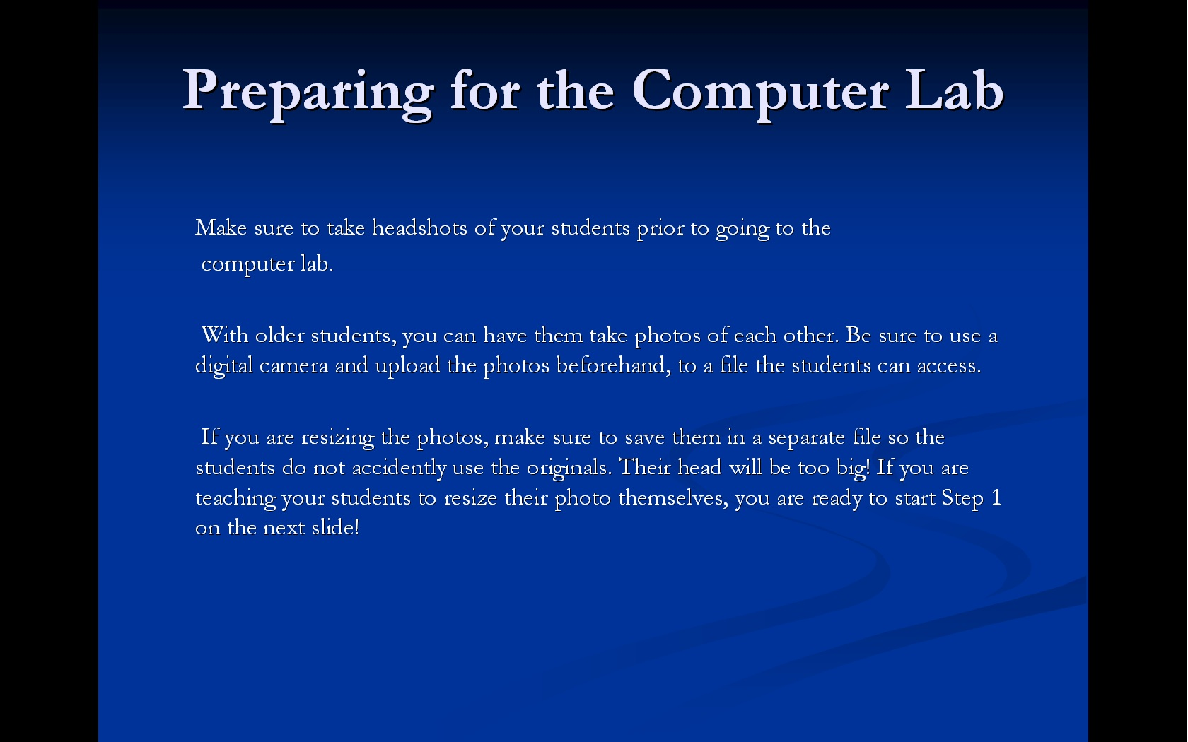 Picture of Preparing for the Computer Lab