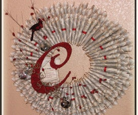 C is for Christmas Wreath - made of book pages