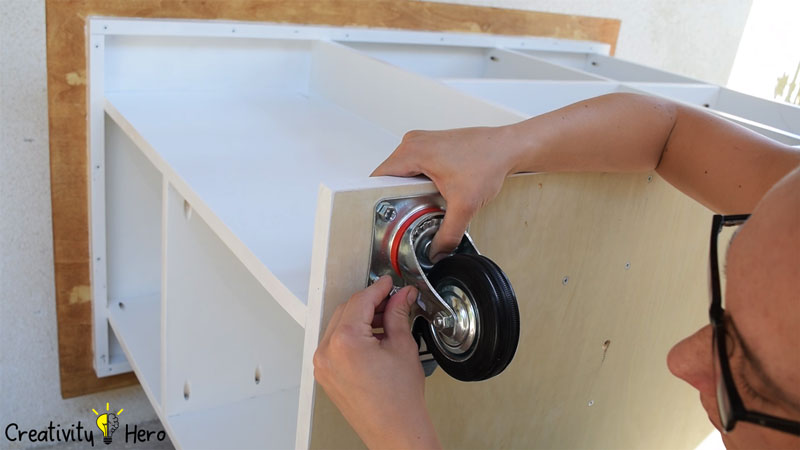 Picture of Mounting the Caster Wheels.