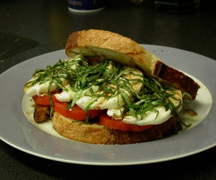 Tomato, Mozzarella and Basil Sandwich