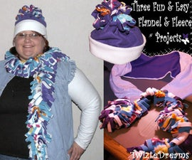 A Fun Flannel and Fleece Arm Warmer Set With A Super Easy Scarf and Hat