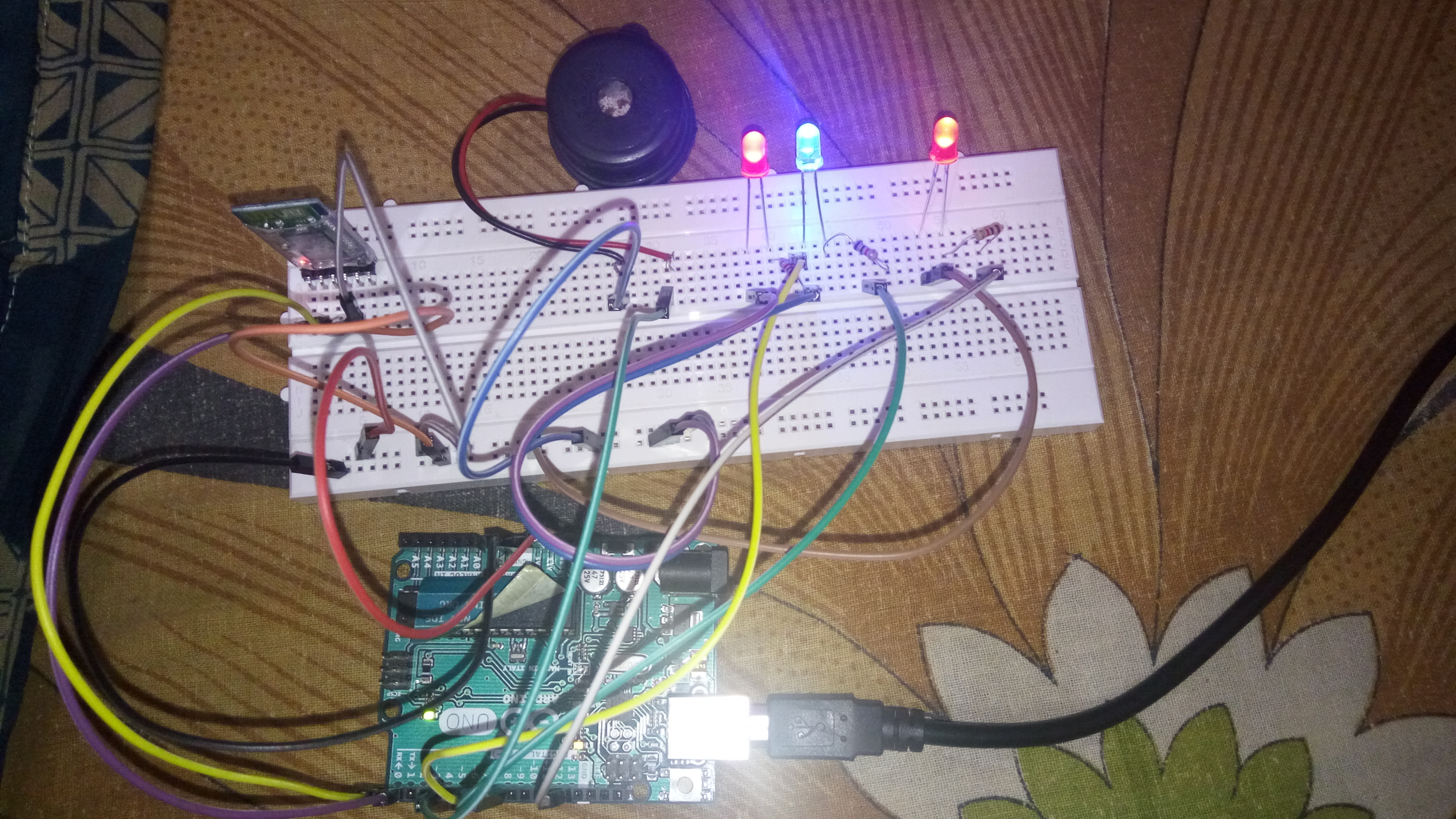 Picture of LED, Buzzer Control Using Bluetooth Module and Arduino