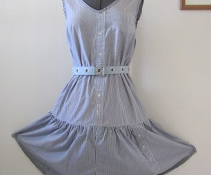 Sun Dress  Made From 3 Mens Shirts