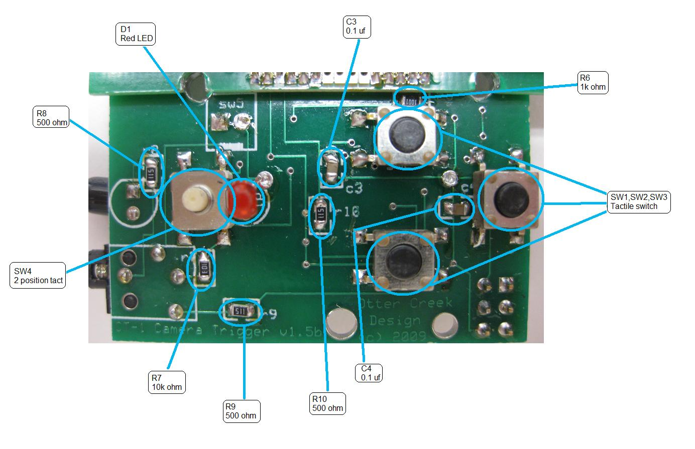 Picture of Solder Parts on the Front of the Board