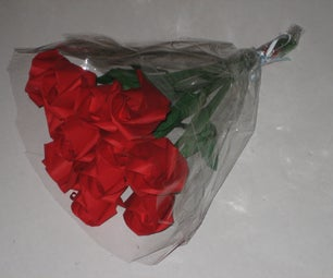 A Dozen Red Origami Roses