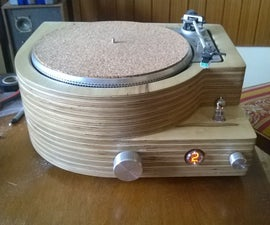 DIY turntable with amp preamp and buffer in wooden case