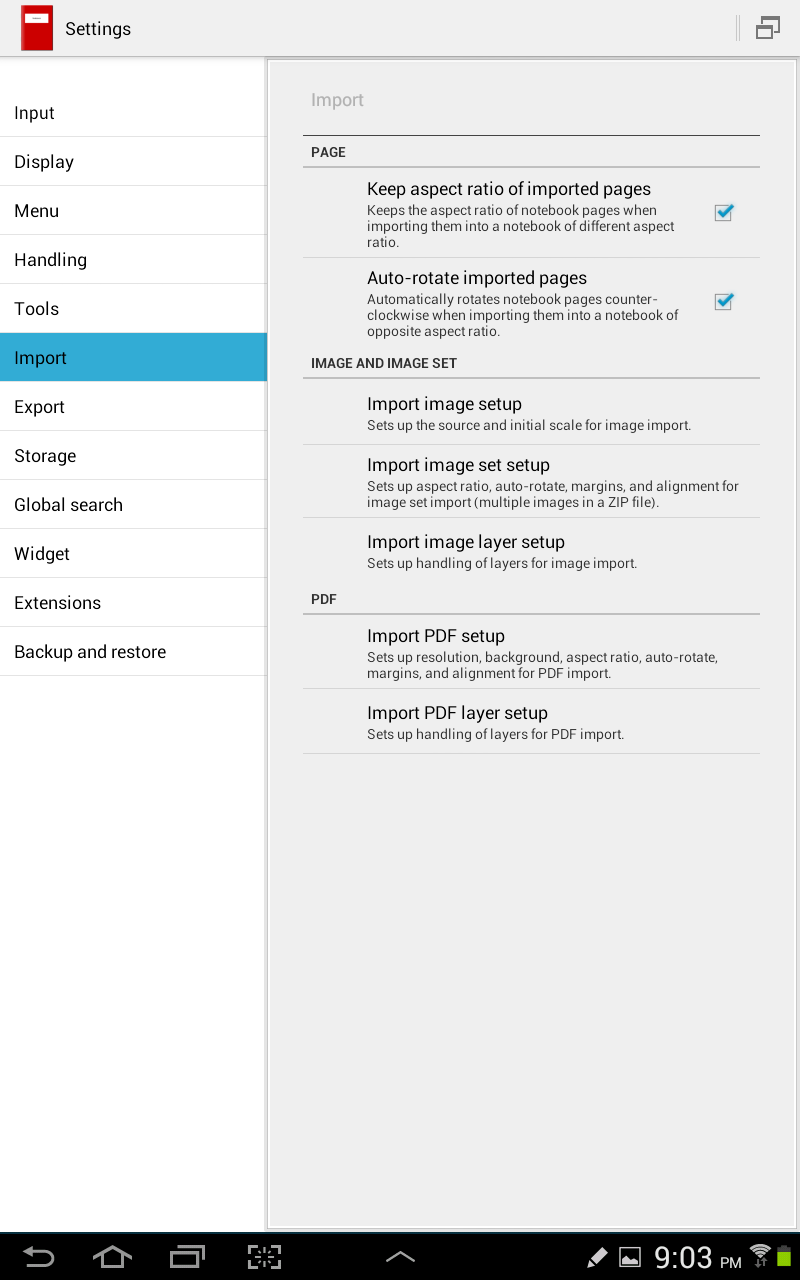 Picture of Import  Import PDF Setup