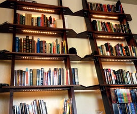 Leaning Bookshelves With LED Lighting