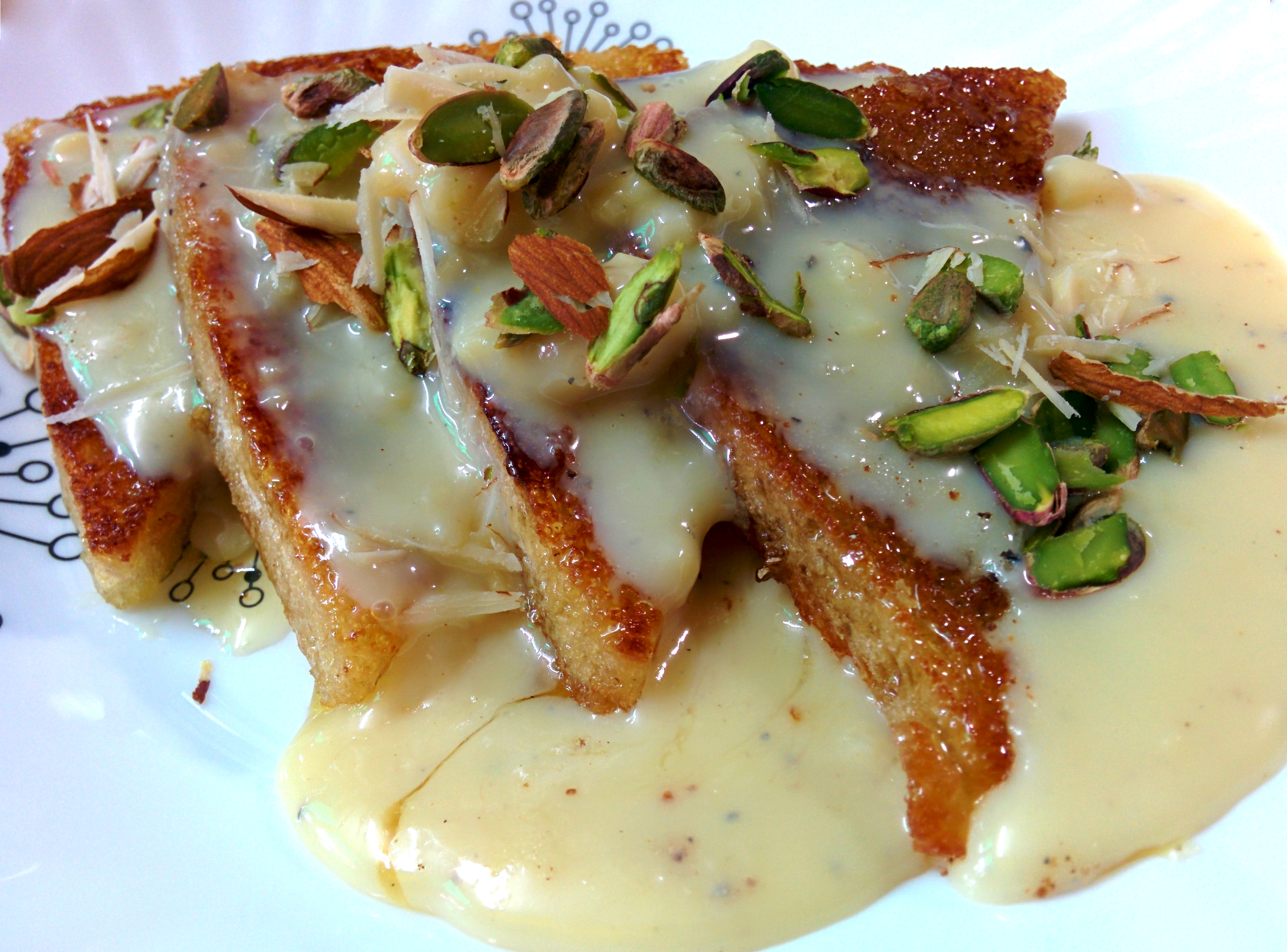 Picture of Shahi Tukda, an Exotic Indian Bread Pudding.