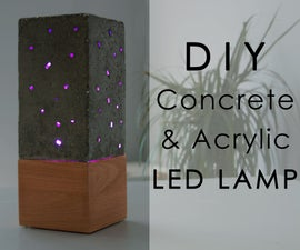 Concrete and Acrylic LED Lamp With a Wooden Base