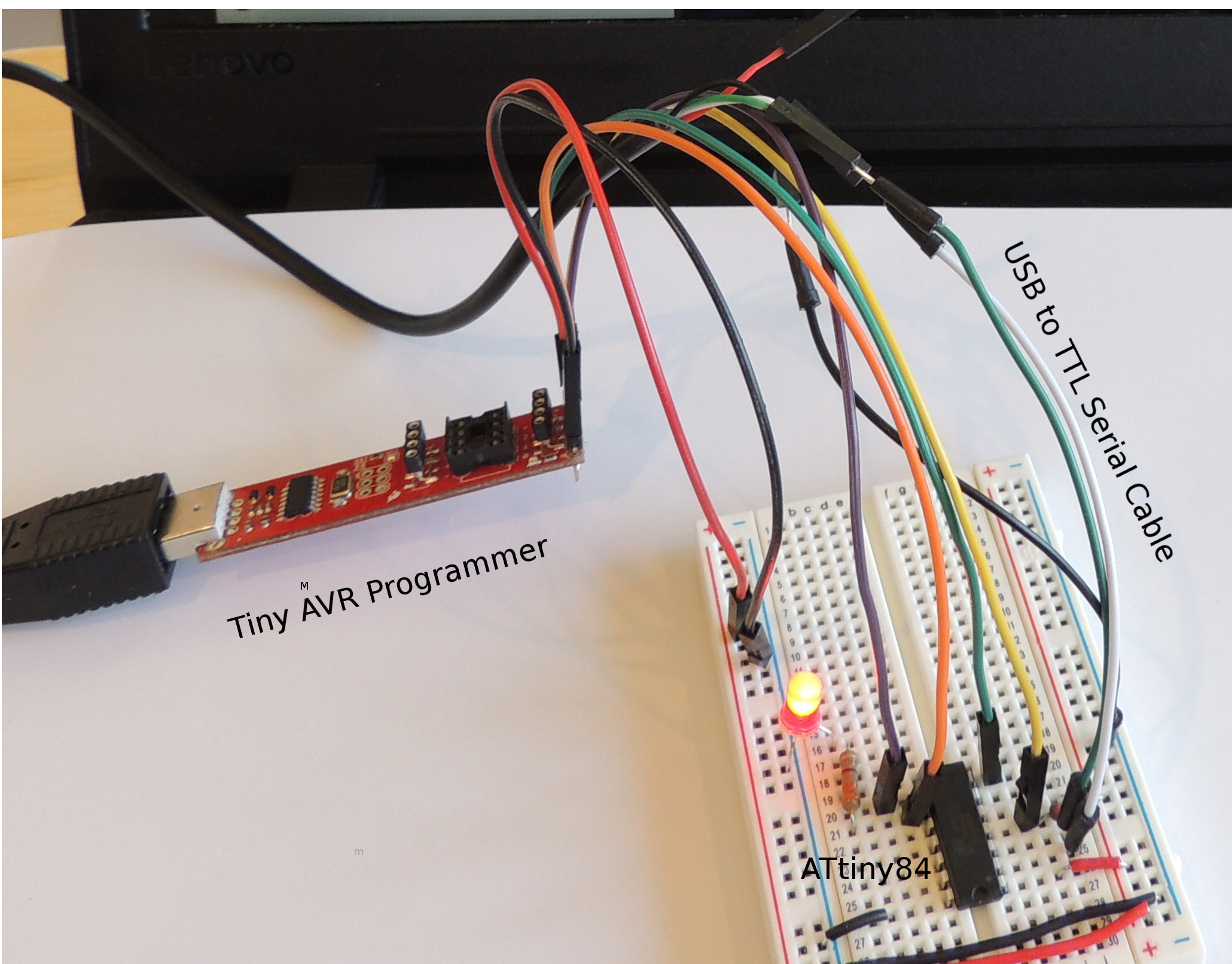 Picture of ATtiny84/85 In-circuit Debugging Using Serial Output