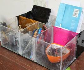 Desktop Organiser With Old CD Jewel Cases