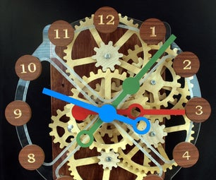 Wood Gear Clock With Stepper Motor Drive