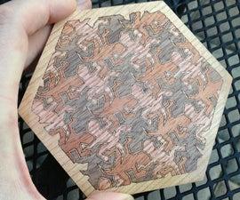 Wood inlay MC Escher reptiles motion art (part 1/2)