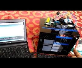 Automatic Door Opening Using Ultrasonic sensor HRSC04, Arduino, 16 X 2 LCD dot matrix, Piezo buzzer, DC motor and mechanical components