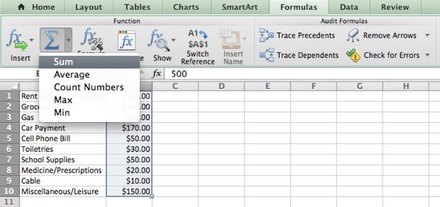 AutoSum the Data