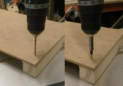 Place the Timber Block on the 240mm Edge of the MDF Board, Drill Two Pilot Holes and Screw Two 30mm Screws.