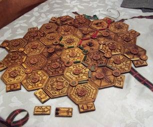 Wood Burned Settlers of Catan Board