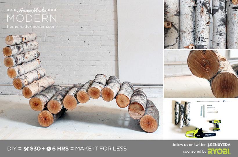 Admirable Homemade Modern Diy Log Lounger 8 Steps With Pictures Inzonedesignstudio Interior Chair Design Inzonedesignstudiocom
