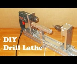 Homemade wood mini lathe with hand Drill